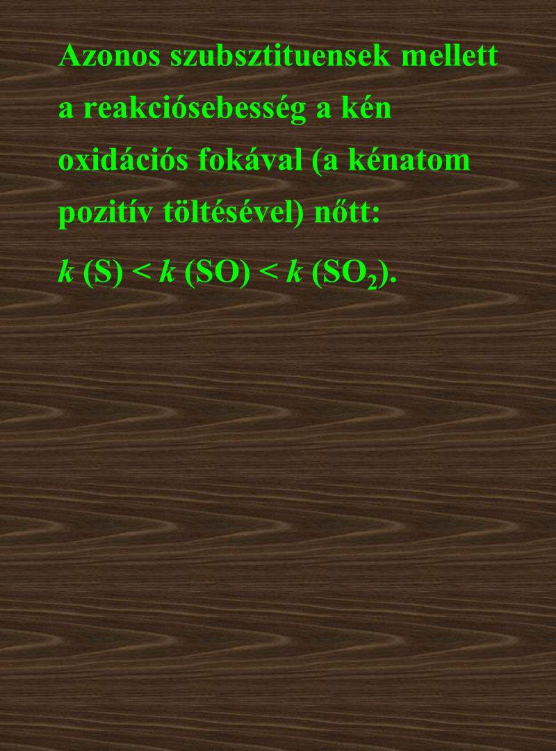 Azonos szubsztituensek mellett a reakciósebesség a kén oxidációs fokával (a kénatom pozitív töltésével) nőtt: k (S) < k (SO) < k (SO 2 ).