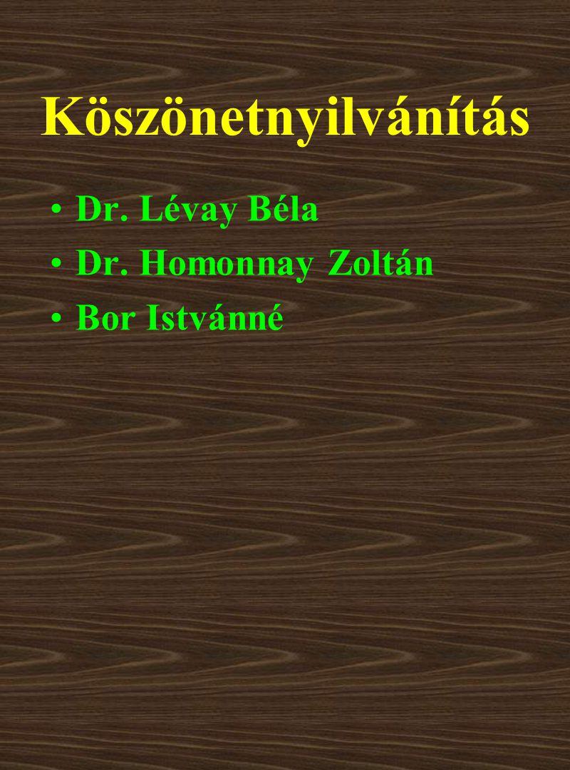 Köszönetnyilvánítás Dr. Lévay Béla Dr. Homonnay Zoltán Bor Istvánné