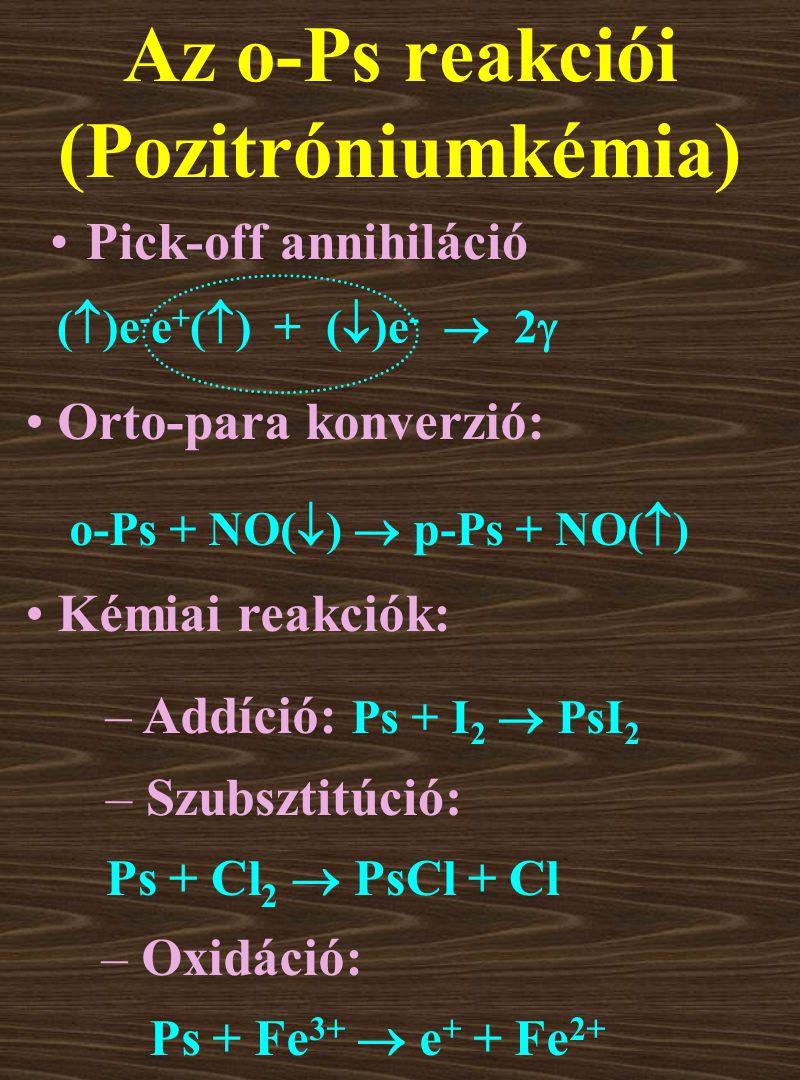 Pick-off annihiláció Az o-Ps reakciói (Pozitróniumkémia) Orto-para konverzió: Kémiai reakciók: o-Ps + NO(  )  p-Ps + NO(  ) – Addíció: Ps + I 2  PsI 2 – Szubsztitúció: Ps + Cl 2  PsCl + Cl – Oxidáció: Ps + Fe 3+  e + + Fe 2+ (  )e - e + (  ) + (  )e -  2 