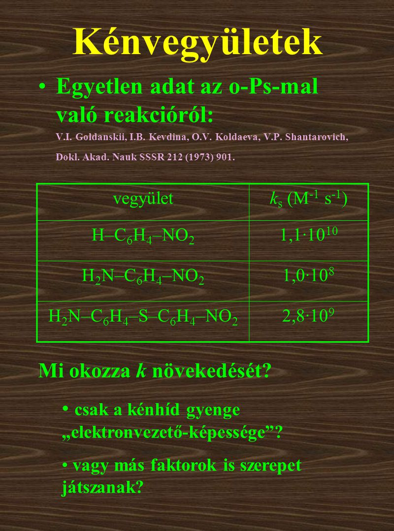 Kénvegyületek Egyetlen adat az o-Ps-mal való reakcióról: V.I.