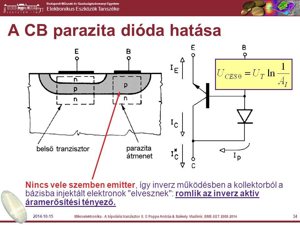 Budapesti Műszaki és Gazdaságtudomanyi Egyetem Elektronikus Eszközök Tanszéke A CB parazita dióda hatása Nincs vele szemben emitter, így inverz működé