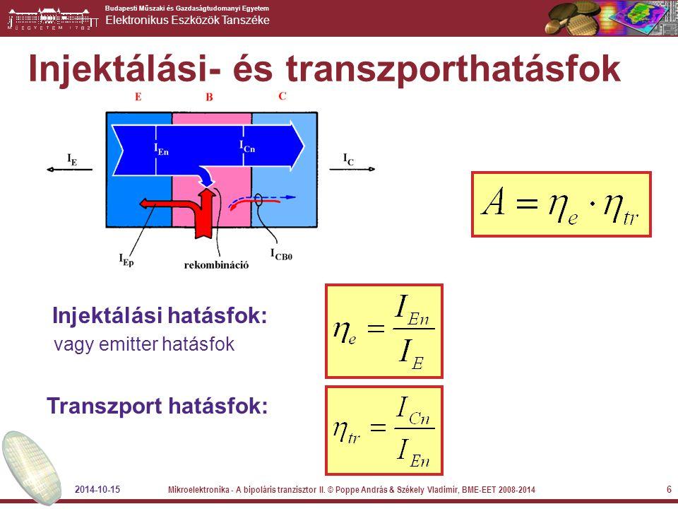 Budapesti Műszaki és Gazdaságtudomanyi Egyetem Elektronikus Eszközök Tanszéke 2014-10-15 Mikroelektronika - A bipoláris tranzisztor II.