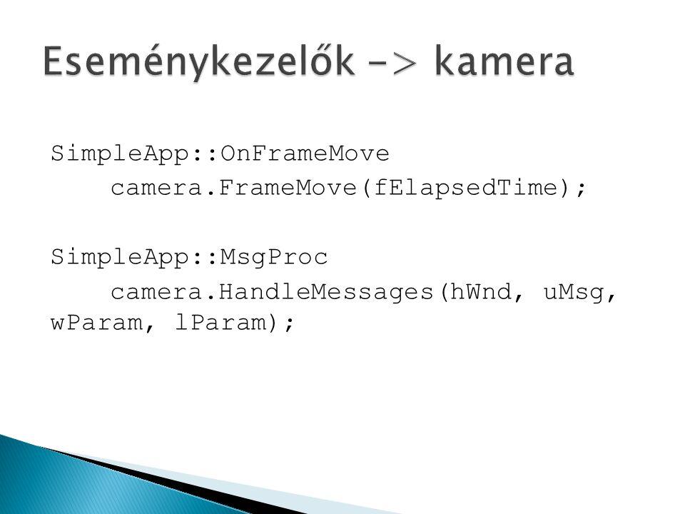 SimpleApp::OnFrameMove camera.FrameMove(fElapsedTime); SimpleApp::MsgProc camera.HandleMessages(hWnd, uMsg, wParam, lParam);