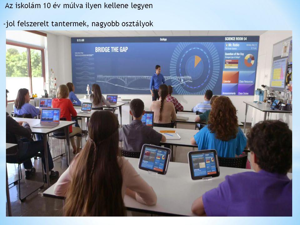 Az iskolám 10 év múlva ilyen kellene legyen -jol felszerelt tantermek, nagyobb osztályok