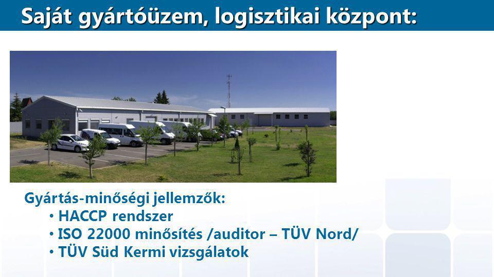 Gyártás-minőségi jellemzők: HACCP rendszer ISO 22000 minősítés /auditor – TÜV Nord/ TÜV Süd Kermi vizsgálatok Saját gyártóüzem, logisztikai központ: Saját gyártóüzem, logisztikai központ: