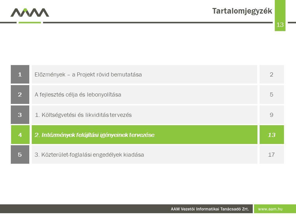 13 Tartalomjegyzék Előzmények – a Projekt rövid bemutatása21 1.
