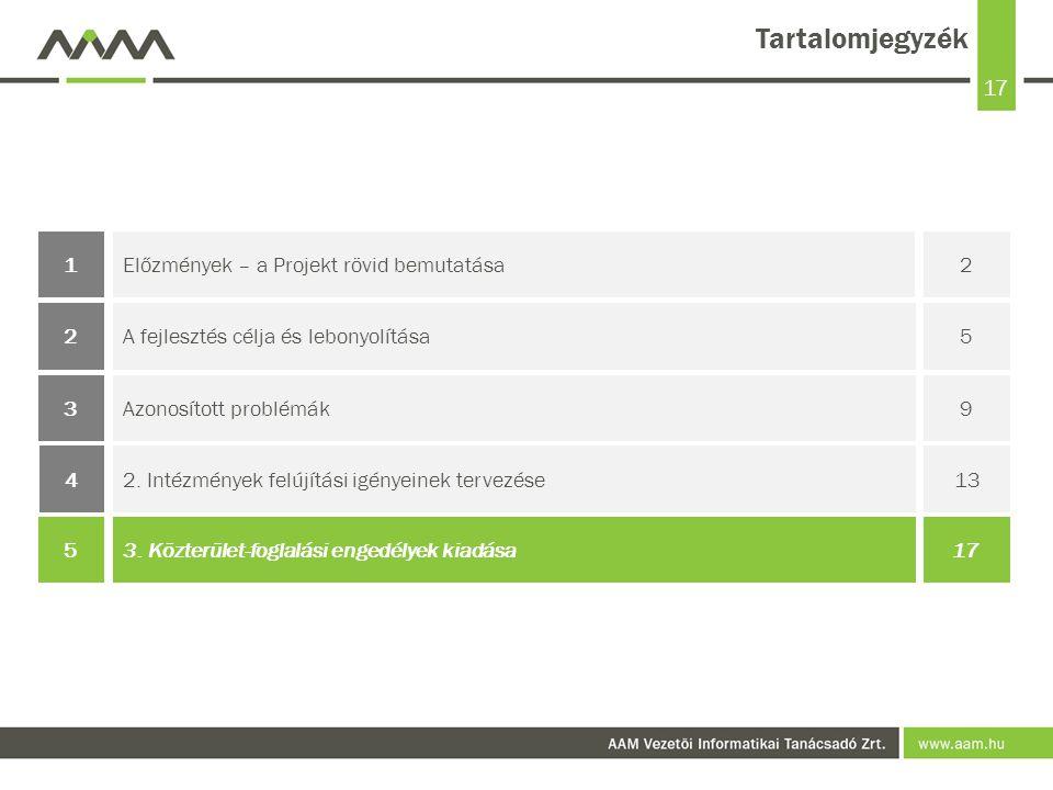 17 Tartalomjegyzék Előzmények – a Projekt rövid bemutatása21 Azonosított problémák93 A fejlesztés célja és lebonyolítása52 2.