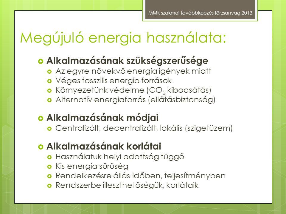 Megújuló energia használata: MMK szakmai továbbképzés törzsanyag 2013  Alkalmazásának szükségszerűsége  Az egyre növekvő energia igények miatt  Vég