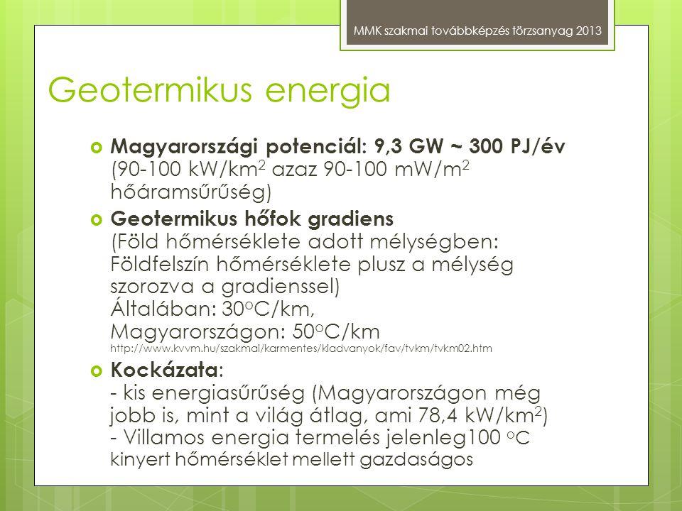 Geotermikus energia MMK szakmai továbbképzés törzsanyag 2013  Magyarországi potenciál: 9,3 GW ~ 300 PJ/év (90-100 kW/km 2 azaz 90-100 mW/m 2 hőáramsű