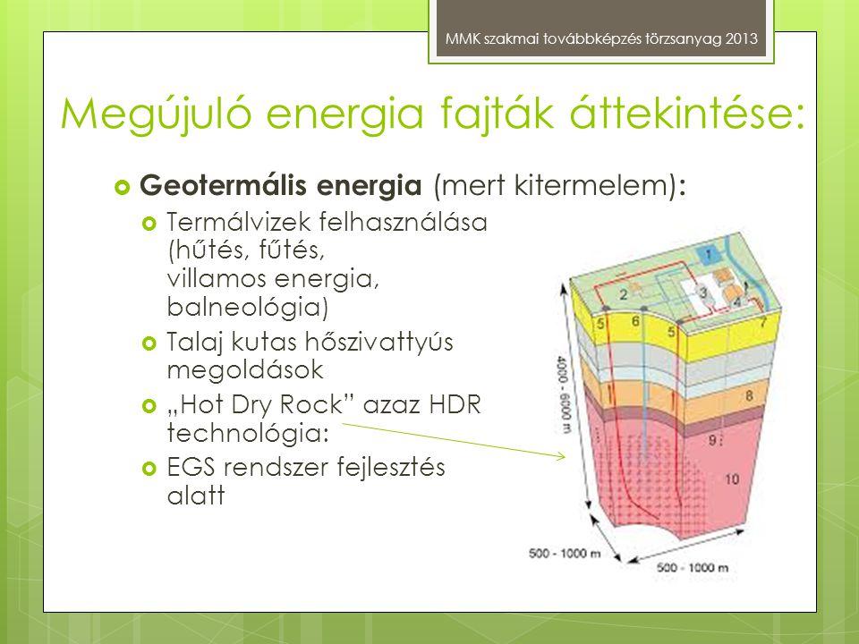 Megújuló energia fajták áttekintése: MMK szakmai továbbképzés törzsanyag 2013  Geotermális energia (mert kitermelem) :  Termálvizek felhasználása (h
