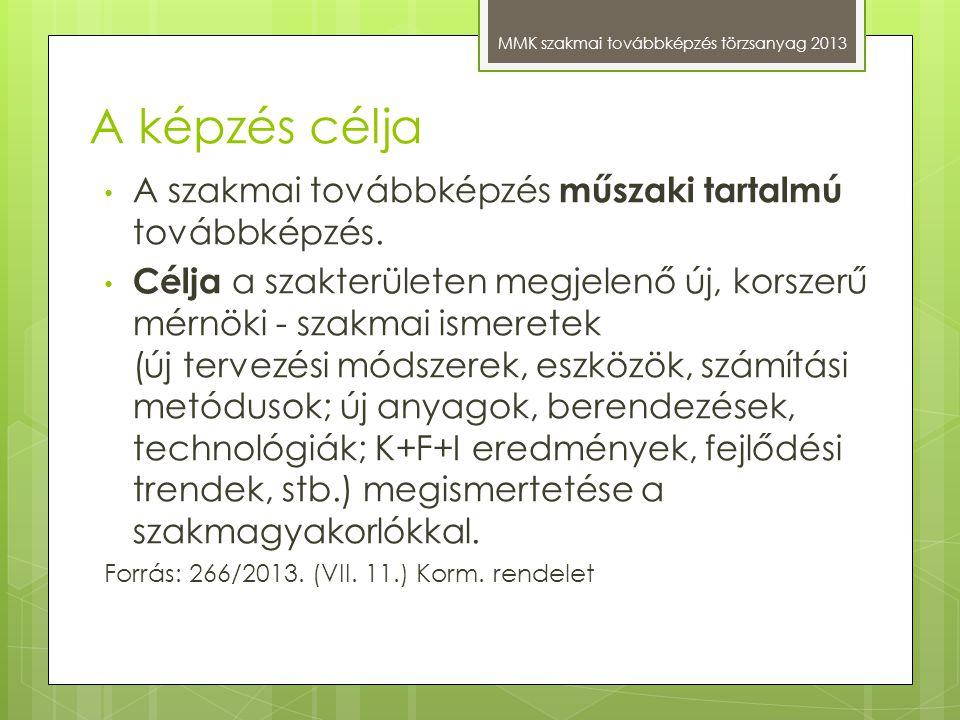 A képzés célja MMK szakmai továbbképzés törzsanyag 2013 A szakmai továbbképzés műszaki tartalmú továbbképzés. Célja a szakterületen megjelenő új, kors