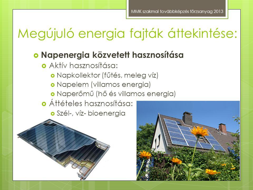 Megújuló energia fajták áttekintése: MMK szakmai továbbképzés törzsanyag 2013  Napenergia közvetett hasznosítása  Aktív hasznosítása:  Napkollektor