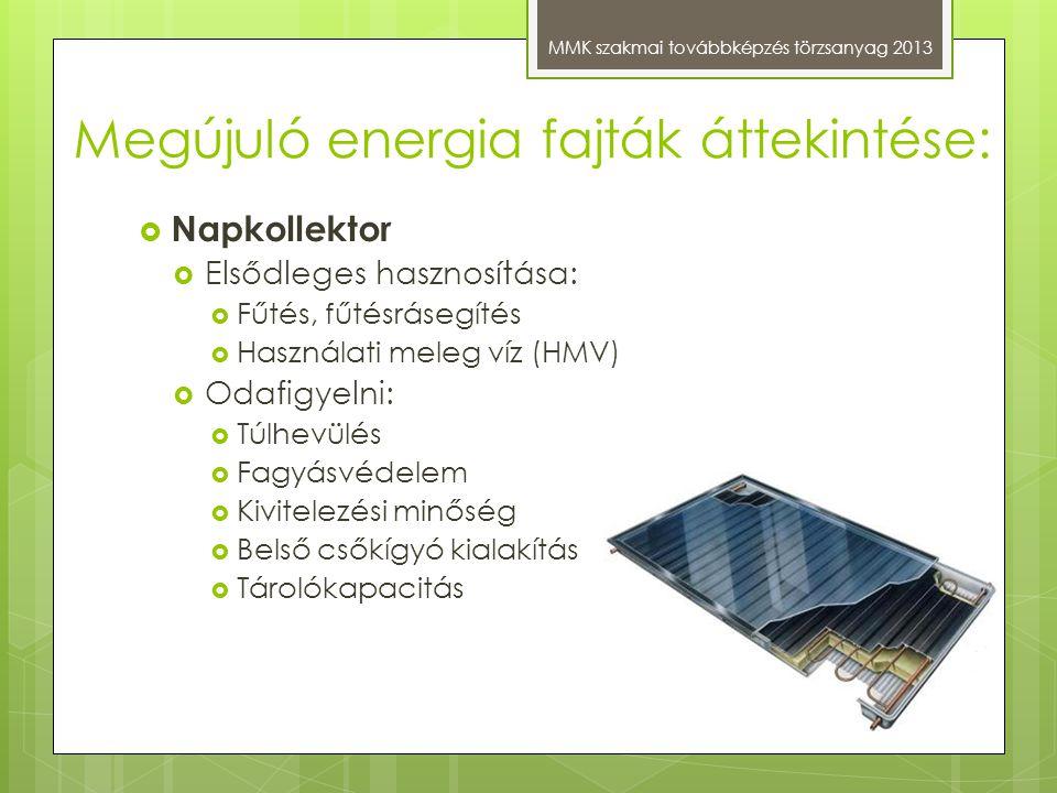 Megújuló energia fajták áttekintése: MMK szakmai továbbképzés törzsanyag 2013  Napkollektor  Elsődleges hasznosítása:  Fűtés, fűtésrásegítés  Hasz