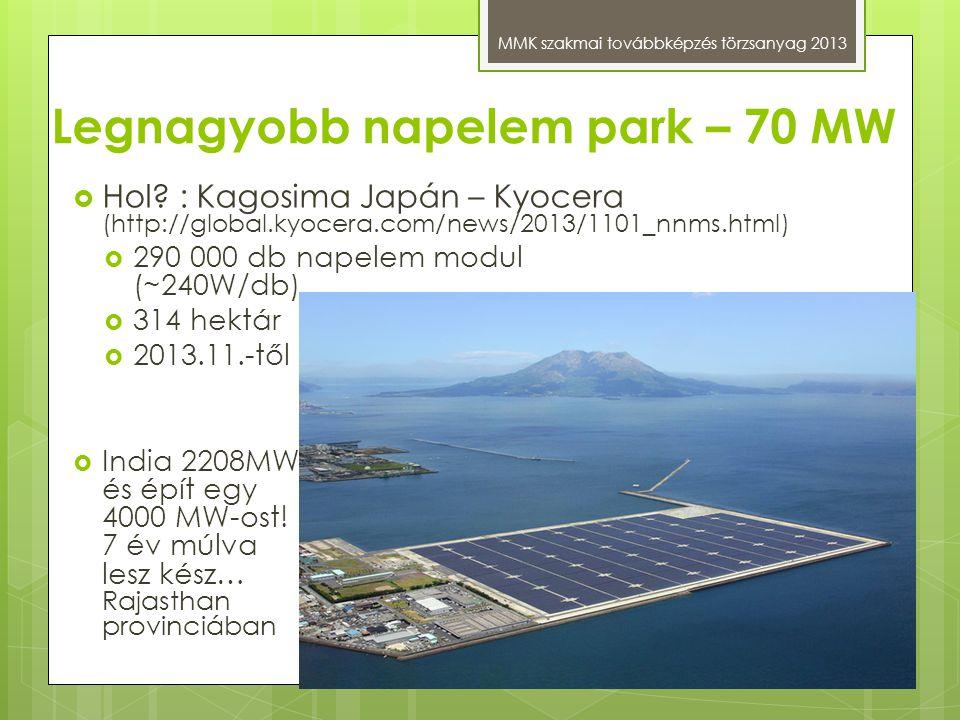 Legnagyobb napelem park – 70 MW MMK szakmai továbbképzés törzsanyag 2013  Hol? : Kagosima Japán – Kyocera (http://global.kyocera.com/news/2013/1101_n
