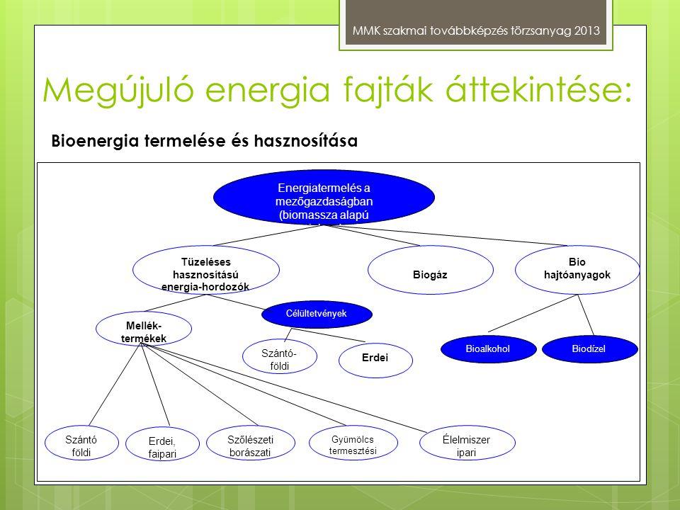 Megújuló energia fajták áttekintése: MMK szakmai továbbképzés törzsanyag 2013 Energiatermelés a mezőgazdaságban (biomassza alapú energiahordozók) Bio