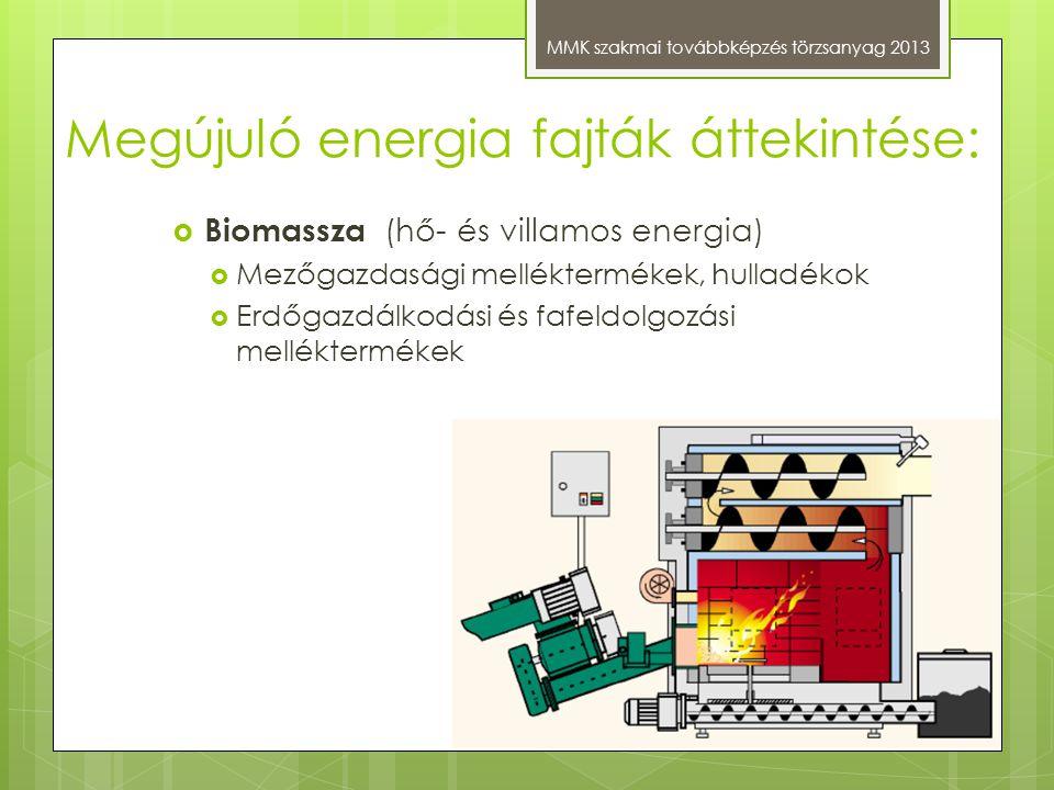 Megújuló energia fajták áttekintése: MMK szakmai továbbképzés törzsanyag 2013  Biomassza (hő- és villamos energia)  Mezőgazdasági melléktermékek, hu