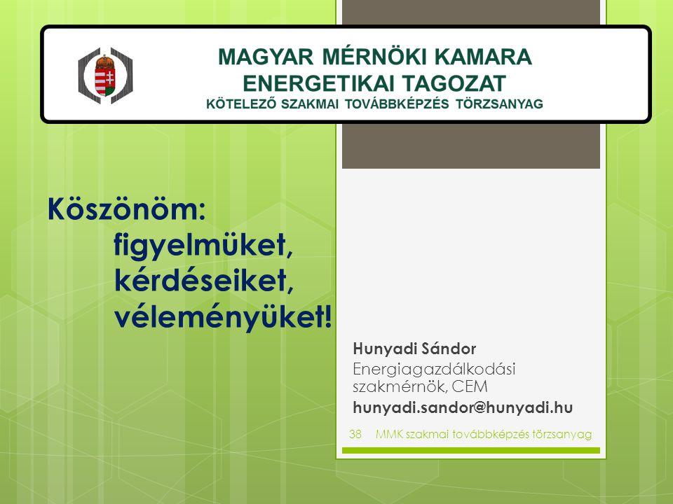 Köszönöm: figyelmüket, kérdéseiket, véleményüket! Hunyadi Sándor Energiagazdálkodási szakmérnök, CEM hunyadi.sandor@hunyadi.hu MMK szakmai továbbképzé