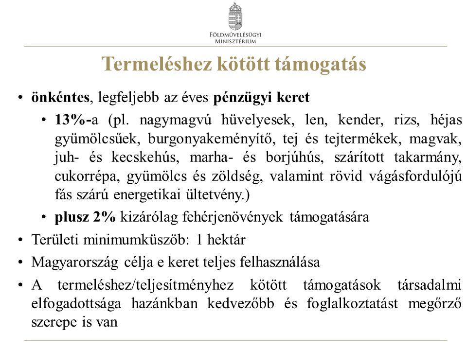 Termeléshez kötött támogatás önkéntes, legfeljebb az éves pénzügyi keret 13%-a (pl.