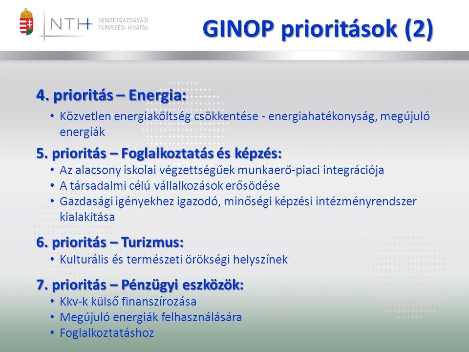 4. prioritás – Energia: Közvetlen energiaköltség csökkentése - energiahatékonyság, megújuló energiák 5. prioritás – Foglalkoztatás és képzés: Az alacs