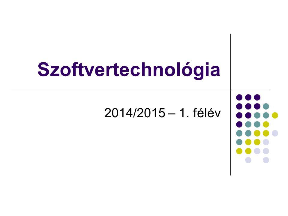 Dr.Johanyák Zs. Csaba - Szoftvertechnológia - 2014 Előadó Dr.
