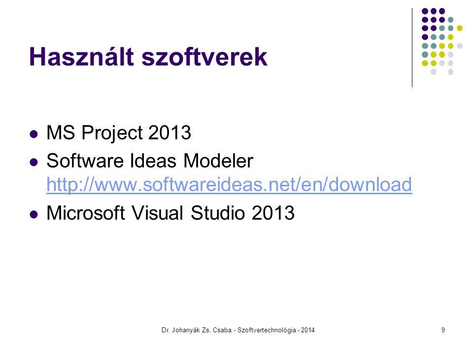 Használt szoftverek MS Project 2013 Software Ideas Modeler http://www.softwareideas.net/en/download http://www.softwareideas.net/en/download Microsoft