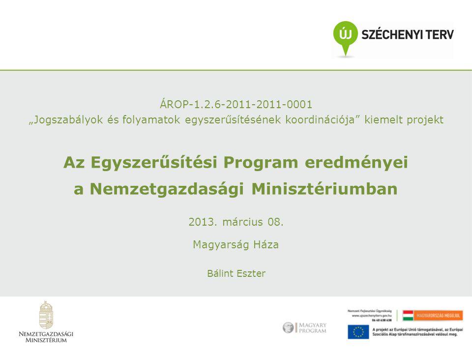 """ÁROP-1.2.6-2011-2011-0001 """"Jogszabályok és folyamatok egyszerűsítésének koordinációja kiemelt projekt Az Egyszerűsítési Program eredményei a Nemzetgazdasági Minisztériumban 2013."""