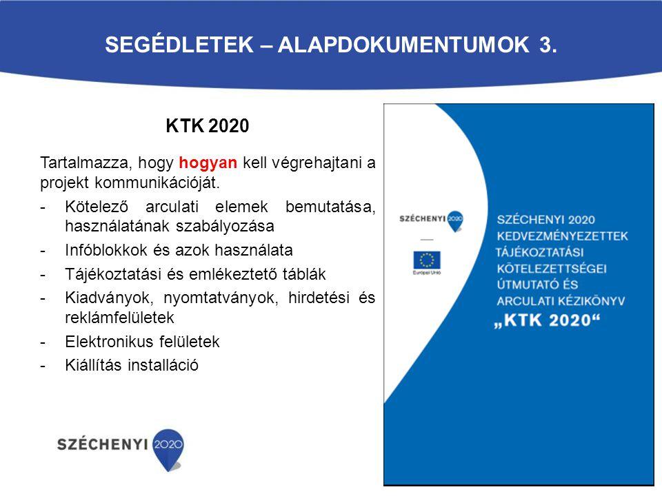 SEGÉDLETEK – ALAPDOKUMENTUMOK 3. Tartalmazza, hogy hogyan kell végrehajtani a projekt kommunikációját. -Kötelező arculati elemek bemutatása, használat
