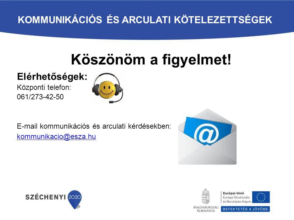 KOMMUNIKÁCIÓS ÉS ARCULATI KÖTELEZETTSÉGEK Elérhetőségek: Központi telefon: 061/273-42-50 E-mail kommunikációs és arculati kérdésekben: kommunikacio@es
