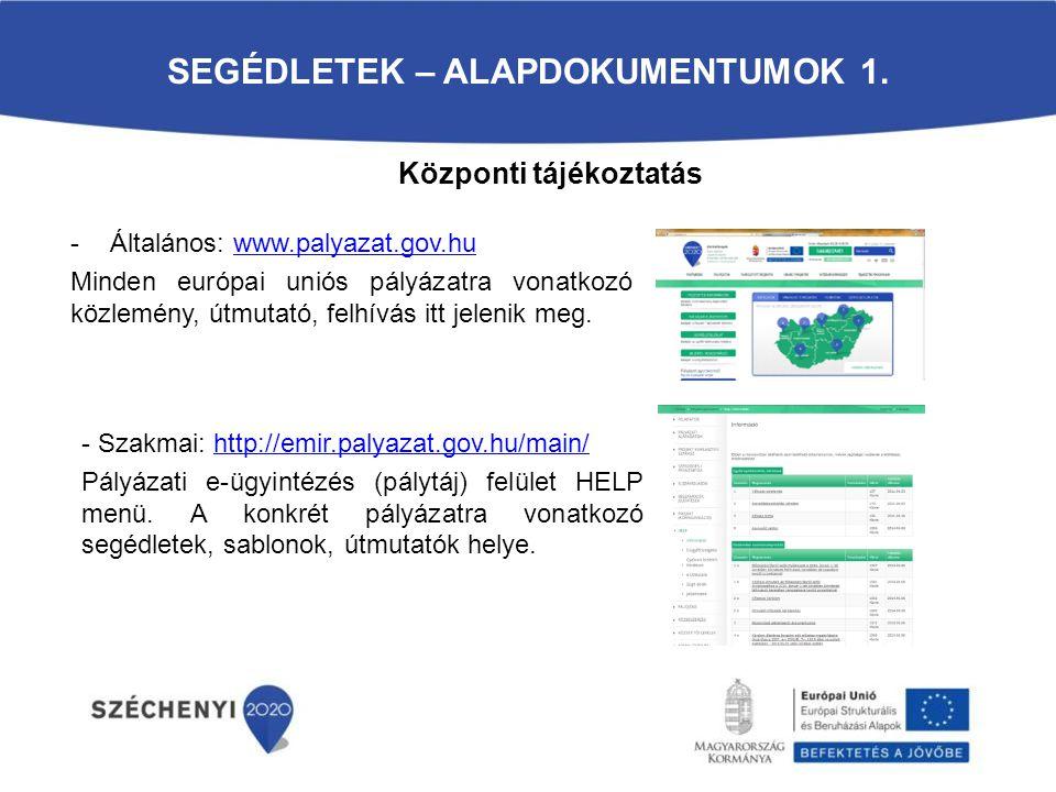 SEGÉDLETEK – ALAPDOKUMENTUMOK 1. -Általános: www.palyazat.gov.huwww.palyazat.gov.hu Minden európai uniós pályázatra vonatkozó közlemény, útmutató, fel