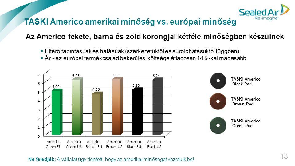 TASKI Americo amerikai minőség vs. európai minőség 13 TASKI Americo Black Pad TASKI Americo Brown Pad TASKI Americo Green Pad Az Americo fekete, barna