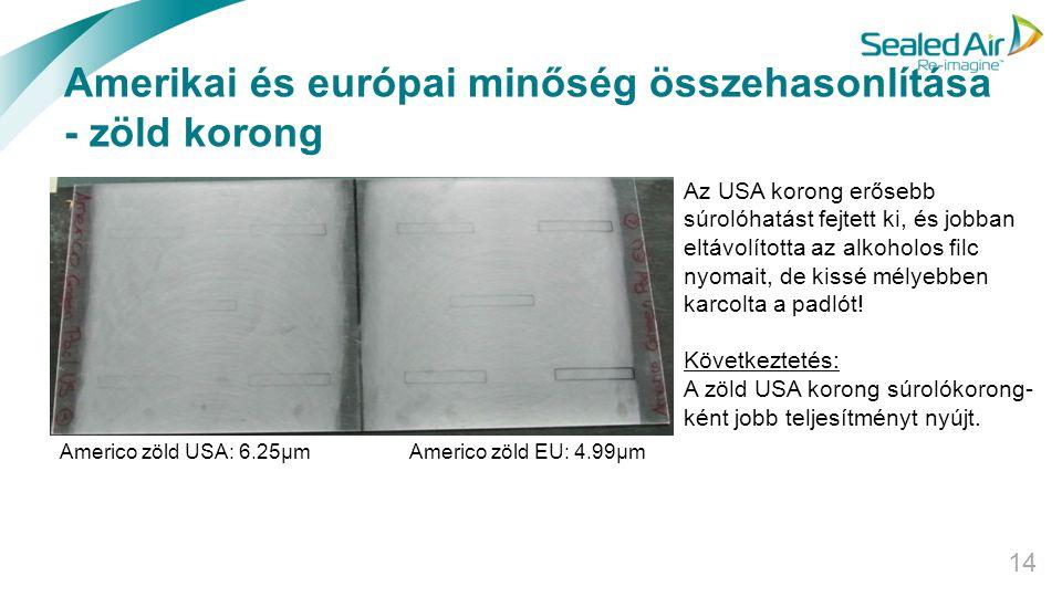 Amerikai és európai minőség összehasonlítása - zöld korong 14 Americo zöld USA: 6.25µm Americo zöld EU: 4.99µm Az USA korong erősebb súrolóhatást fejt