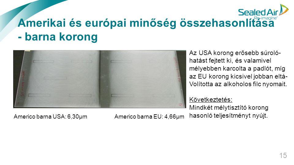 Amerikai és európai minőség összehasonlítása - barna korong 15 Az USA korong erősebb súroló- hatást fejtett ki, és valamivel mélyebben karcolta a padl
