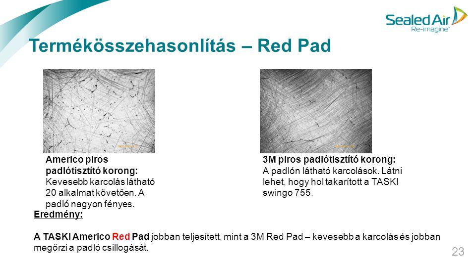 Termékösszehasonlítás – Red Pad 23 Eredmény: A TASKI Americo Red Pad jobban teljesített, mint a 3M Red Pad – kevesebb a karcolás és jobban megőrzi a p