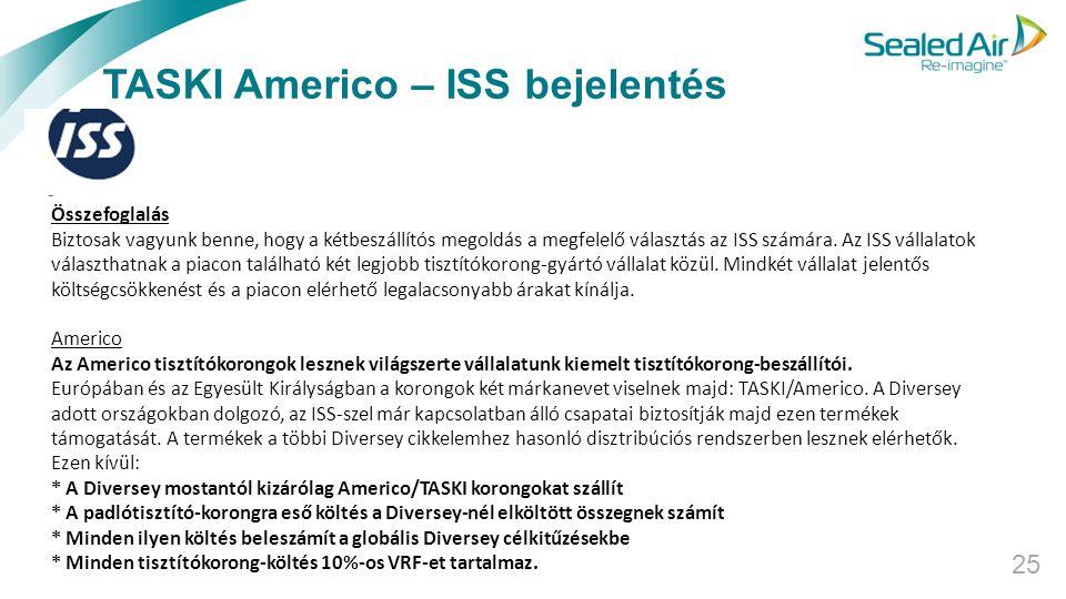 TASKI Americo – ISS bejelentés 25 Összefoglalás Biztosak vagyunk benne, hogy a kétbeszállítós megoldás a megfelelő választás az ISS számára. Az ISS vá