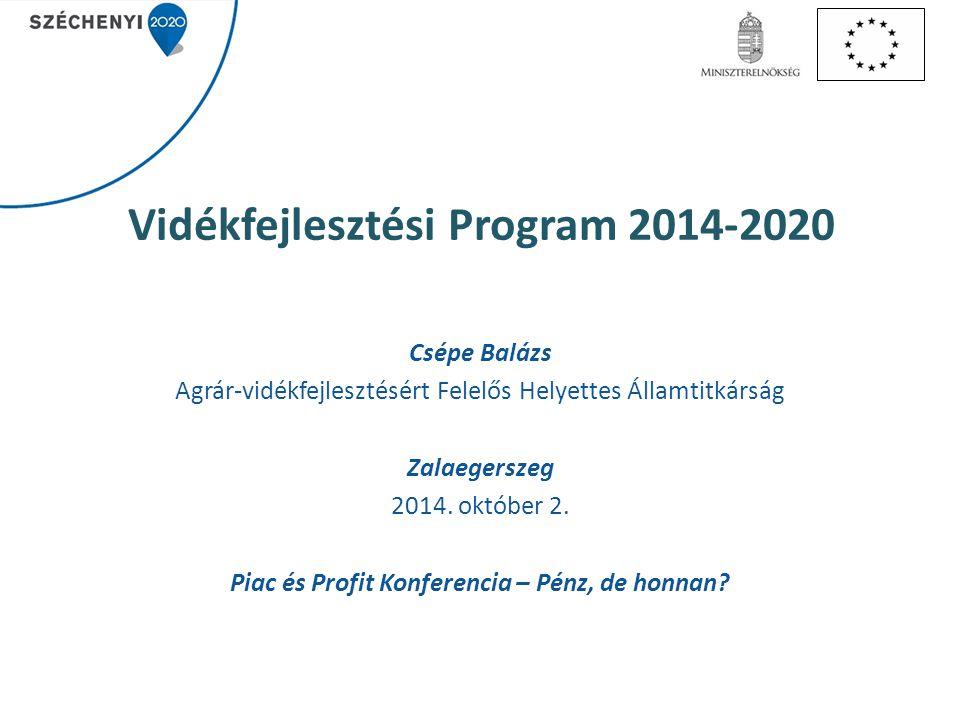 Vidékfejlesztési Program 2014-2020 Csépe Balázs Agrár-vidékfejlesztésért Felelős Helyettes Államtitkárság Zalaegerszeg 2014. október 2. Piac és Profit