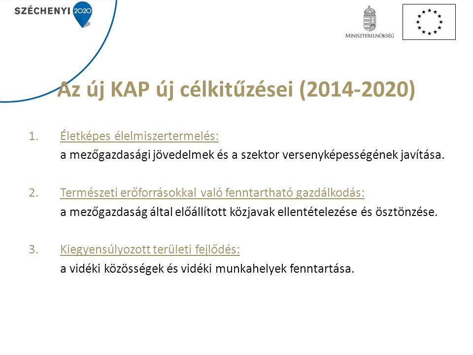 Az új KAP új célkitűzései (2014-2020) 1.Életképes élelmiszertermelés: a mezőgazdasági jövedelmek és a szektor versenyképességének javítása. 2.Természe