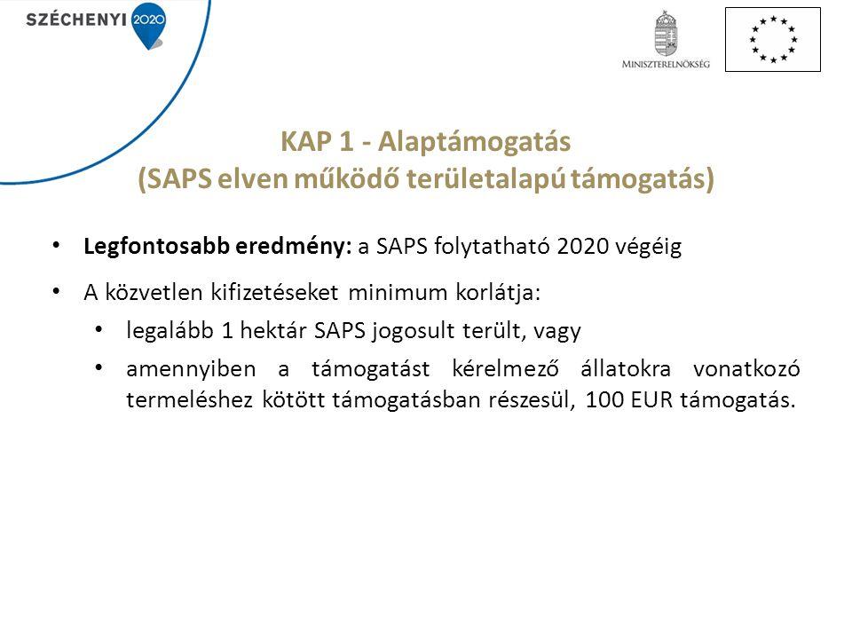 Legfontosabb eredmény: a SAPS folytatható 2020 végéig A közvetlen kifizetéseket minimum korlátja: legalább 1 hektár SAPS jogosult terült, vagy amennyi