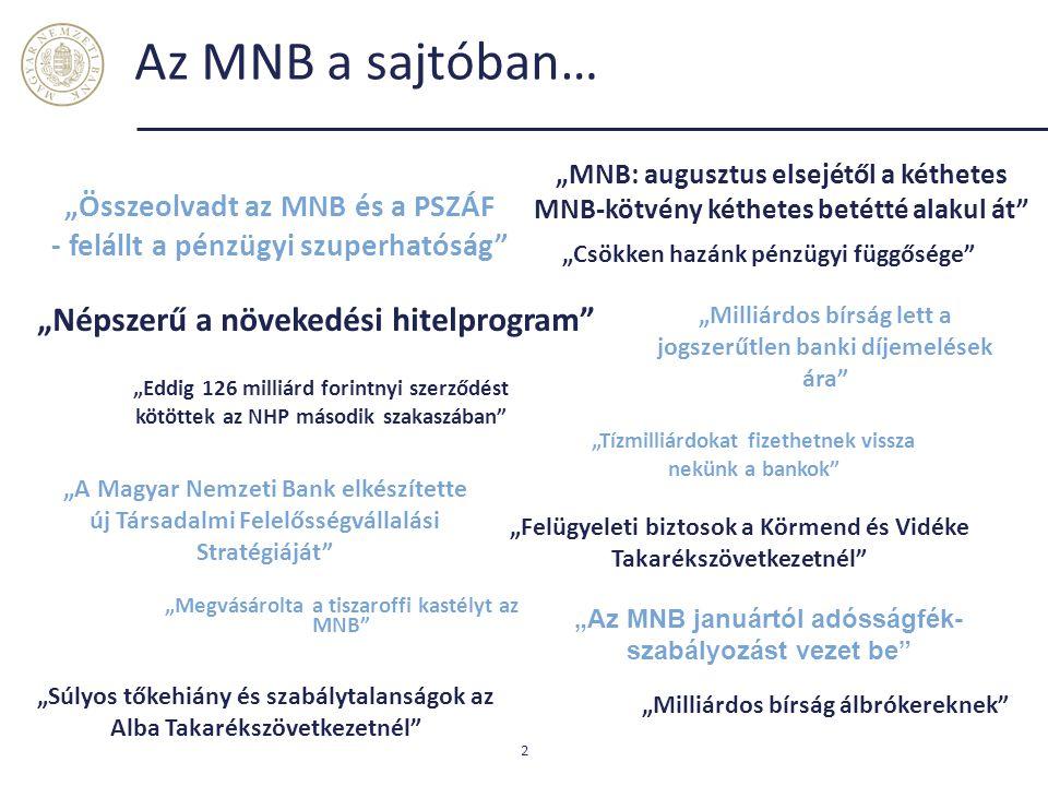 """Az MNB a sajtóban… 2 """"Milliárdos bírság álbrókereknek"""" """"Súlyos tőkehiány és szabálytalanságok az Alba Takarékszövetkezetnél"""" """"MNB: augusztus elsejétől"""