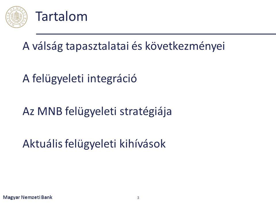 Tartalom A válság tapasztalatai és következményei A felügyeleti integráció Az MNB felügyeleti stratégiája Aktuális felügyeleti kihívások Magyar Nemzet