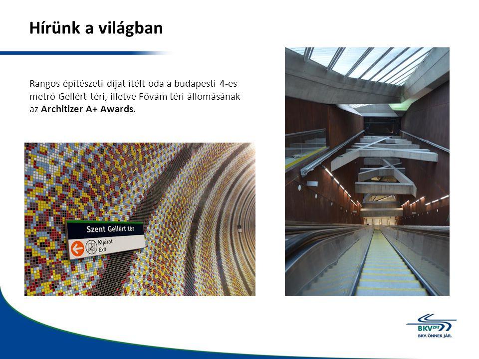 Hírünk a világban Rangos építészeti díjat ítélt oda a budapesti 4-es metró Gellért téri, illetve Fővám téri állomásának az Architizer A+ Awards.