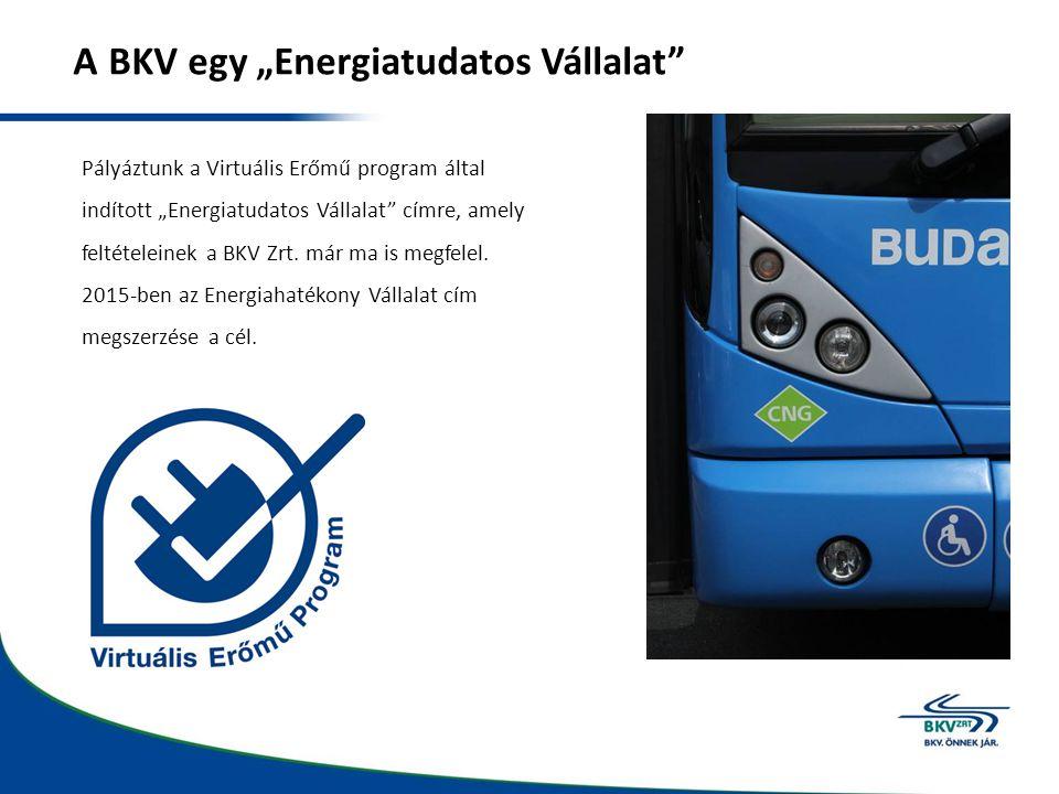 """A BKV egy """"Energiatudatos Vállalat"""" Pályáztunk a Virtuális Erőmű program által indított """"Energiatudatos Vállalat"""" címre, amely feltételeinek a BKV Zrt"""