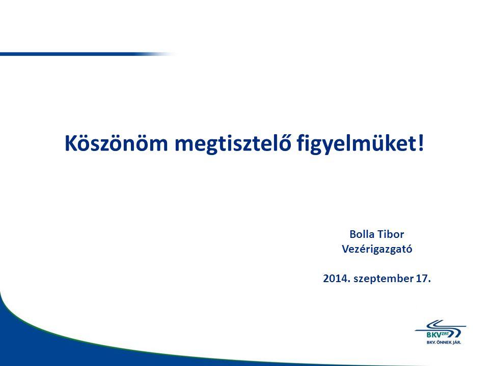 Köszönöm megtisztelő figyelmüket! Bolla Tibor Vezérigazgató 2014. szeptember 17.