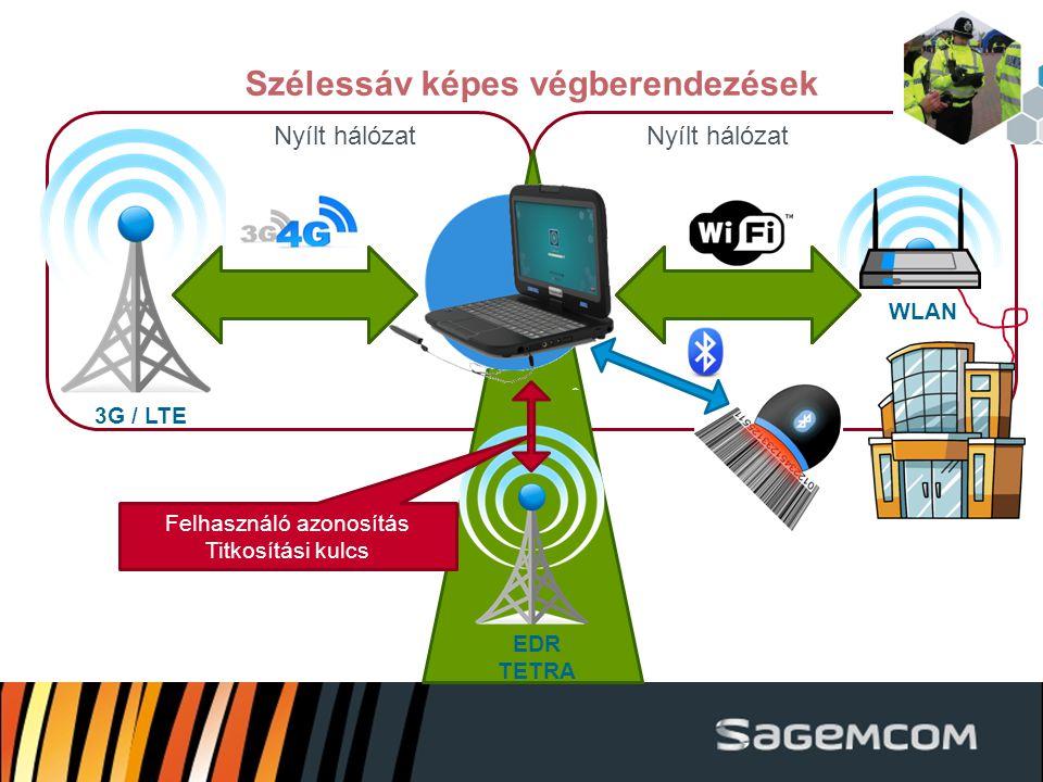 Nyílt hálózat Szélessáv képes végberendezések 3G / LTE EDR TETRA Felhasználó azonosítás Titkosítási kulcs WLAN