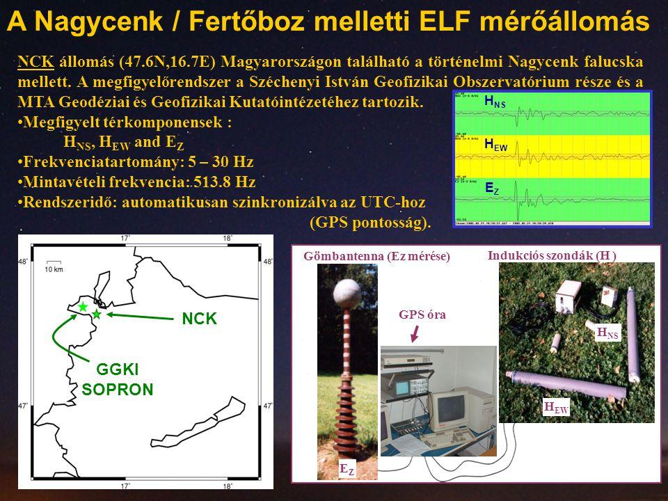 NCK állomás (47.6N,16.7E) Magyarországon található a történelmi Nagycenk falucska mellett. A megfigyelőrendszer a Széchenyi István Geofizikai Obszerva