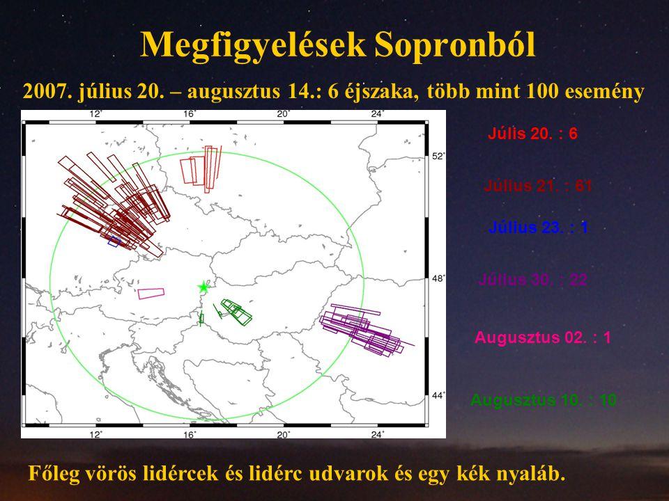 Megfigyelések Sopronból 2007. július 20. – augusztus 14.: 6 éjszaka, több mint 100 esemény Júlis 20. : 6 Július 21. : 61 Július 23. : 1 Július 30. : 2