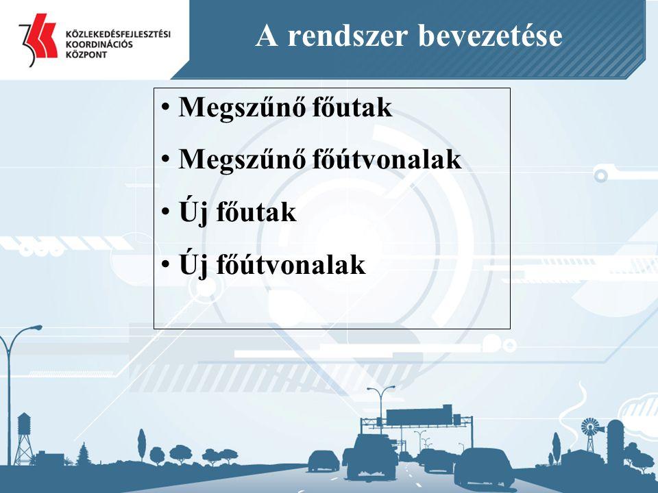 Megszűnő főutak Megszűnő főútvonalak Új főutak Új főútvonalak A rendszer bevezetése