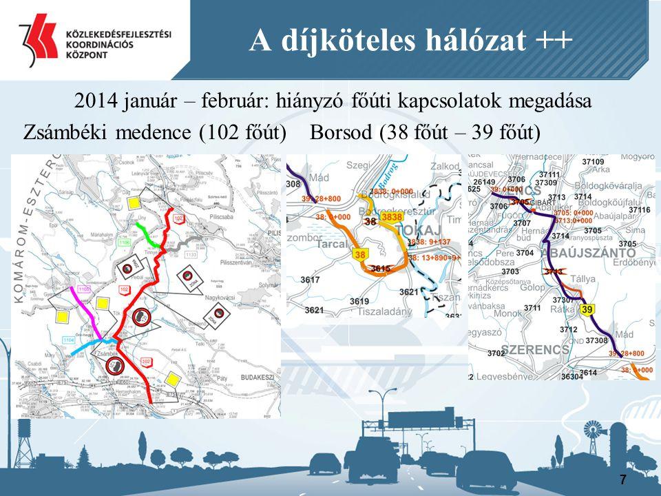 2014 január – február: hiányzó főúti kapcsolatok megadása Zsámbéki medence (102 főút) Borsod (38 főút – 39 főút) 7 A díjköteles hálózat ++