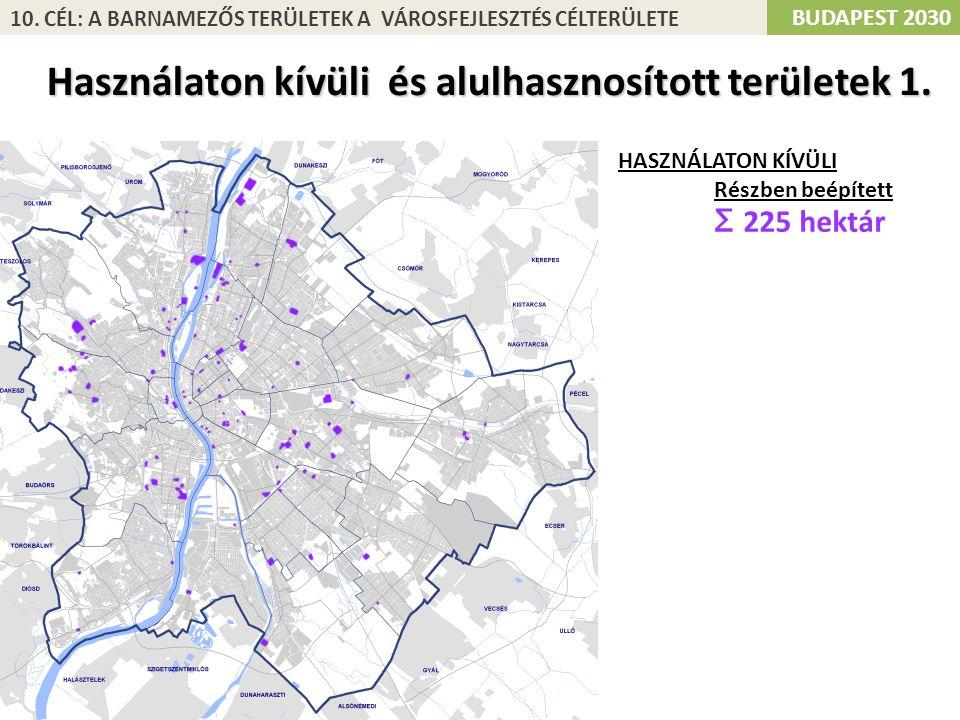 Használaton kívüli és alulhasznosított területek 1. HASZNÁLATON KÍVÜLI Részben beépített Σ 225 hektár BUDAPEST 2030 10. CÉL: A BARNAMEZŐS TERÜLETEK A