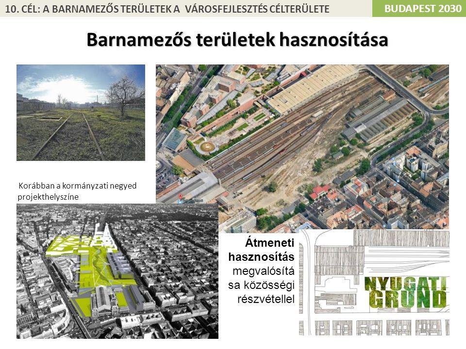 Korábban a kormányzati negyed projekthelyszíne BUDAPEST 2030 10. CÉL: A BARNAMEZŐS TERÜLETEK A VÁROSFEJLESZTÉS CÉLTERÜLETE Barnamezős területek haszno