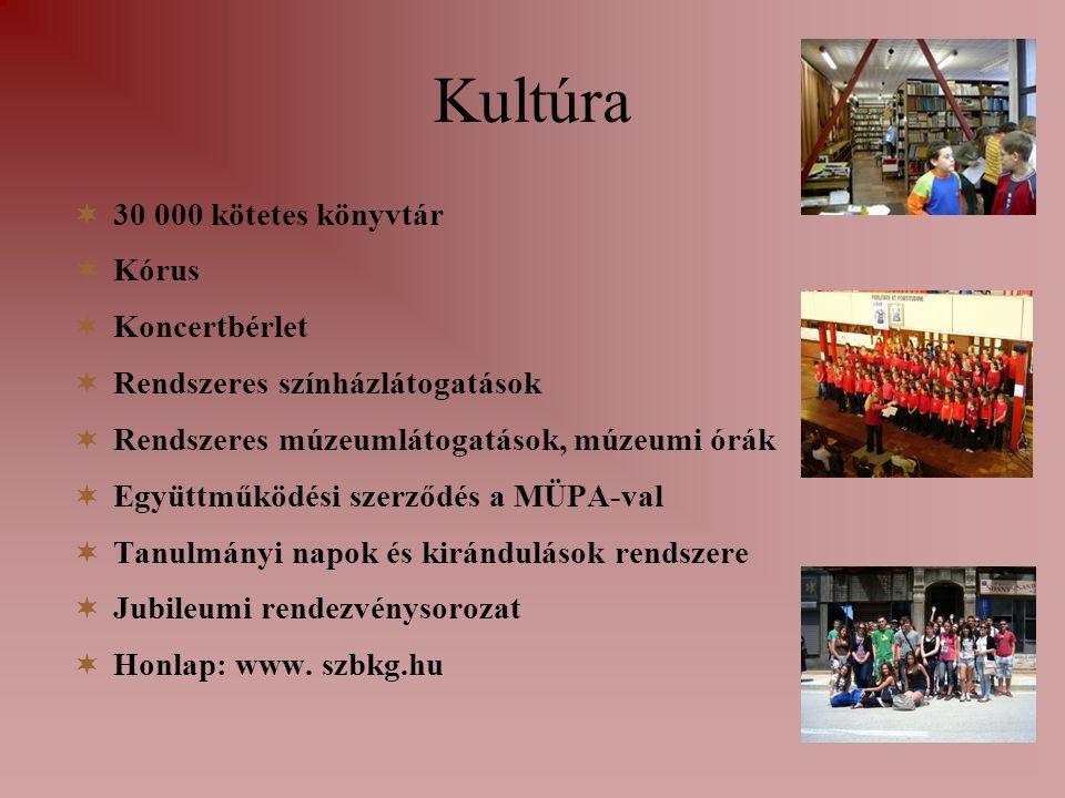 Kultúra  30 000 kötetes könyvtár  Kórus  Koncertbérlet  Rendszeres színházlátogatások  Rendszeres múzeumlátogatások, múzeumi órák  Együttműködési szerződés a MÜPA-val  Tanulmányi napok és kirándulások rendszere  Jubileumi rendezvénysorozat  Honlap: www.
